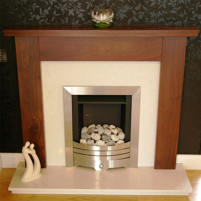 milan walnut fireplace